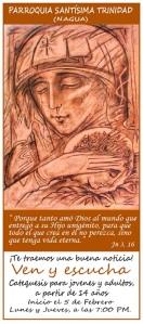 Invitación catequesis Parroquia Santísima Trinidad.